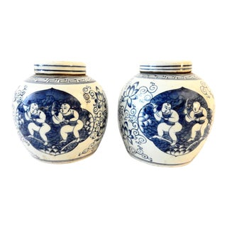 Porcelain Ginger Jars w/ Hundred Boys - A Pair