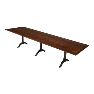 Antique Shaker Cherry Wood Trestle Dining Table For Sale