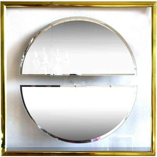 1980s Art Deco Chrome and Glass Wall Mirror For Sale