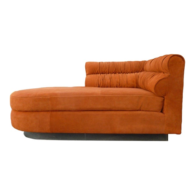 70's Mod Italian Suede and Lucite Chaise For Sale