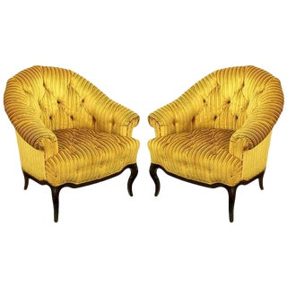 Elegant Pair of Interior Crafts Button-Tufted Barrel-Back Lounge Chairs For Sale