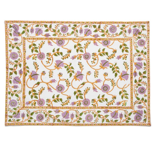 The Gina design displays a classic Indian floral vine pattern in lilac, green and gold. Hand printed with carved wooden...