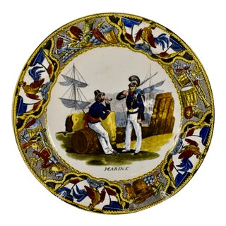 19th C. Creil Creamware Transfer Printed Plate, Marins/Sailors For Sale