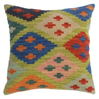 """Colene Lime Green/Blue Hand-Woven Kilim Throw Pillow(18""""x18"""") For Sale"""