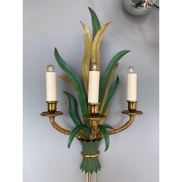 Maison Baguès Pair of Sconces Bamboo Palm Bronze by Maison Bagues, France, 1970s For Sale - Image 4 of 13
