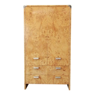 Leon Rosen for Pace Burled Olive Wood and Chrome Wardrobe Dresser