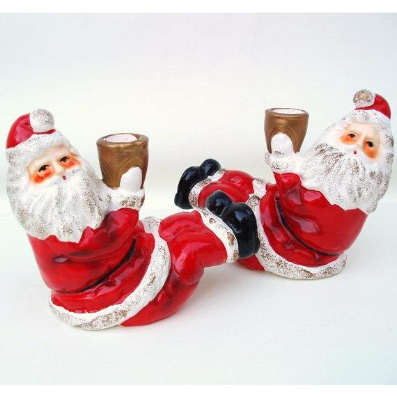 Santa Claus Candle Holders - A Pair - Image 2 of 6