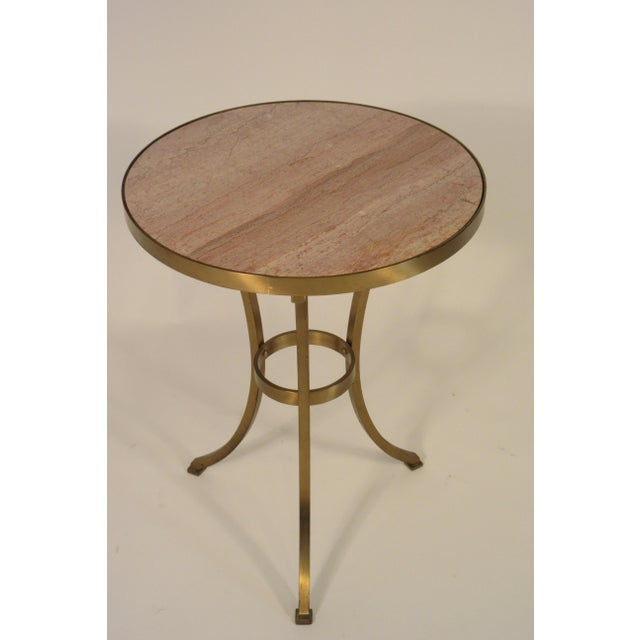 Solid Brass Gueridon Drink Table With Marble Top For Sale In New York - Image 6 of 8