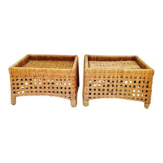 Vintage Rattan Woven Ottomans Rattan Stools - a Pair