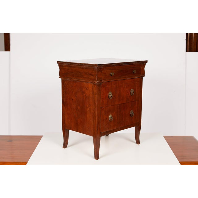 Early 20th Century Italian Neoclassical Walnut Commodini For Sale - Image 5 of 13