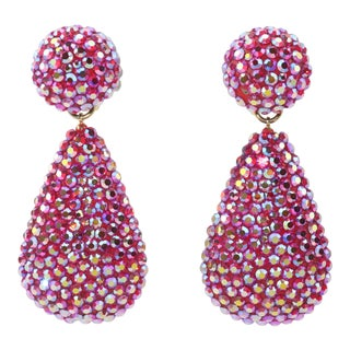 1980's Richard Kerr Hot Pink Pave Crystal Teardrop Earrings For Sale