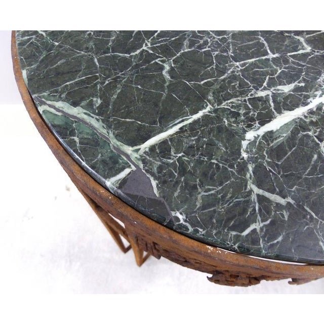 French Art Deco Wrought Iron Marble Top Tables by Paul Kiss - A Pair For Sale - Image 10 of 11