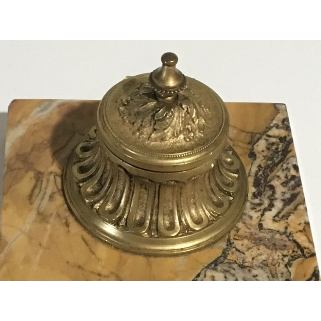 Art Deco Antique French Gilded Bronze & Marble Inkwell For Sale - Image 3 of 13