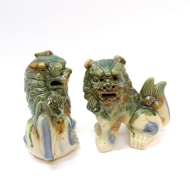 Asian Modern Glazed Pottery Foo Dogs - A Pair For Sale - Image 3 of 4