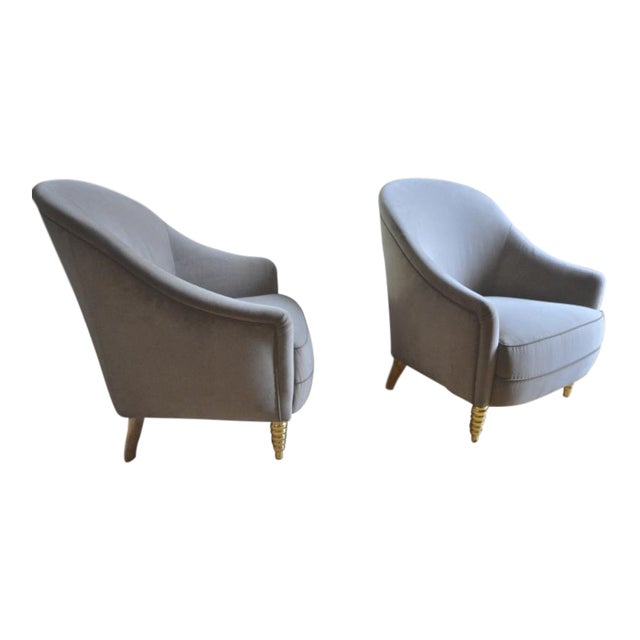 Maison Jansen Refined Pair of Chairs With Gold Leaf Carved Legs For Sale