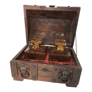Vintage MCM Treasure Chest Bar Set - Set of 7