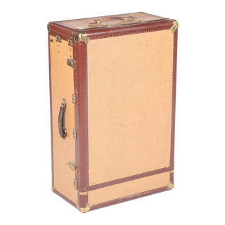 Antique Hartmann Canvas & Leather Wardrobe Steamer Trunk For Sale