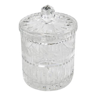 Vintage Art Deco Crystal Canister For Sale