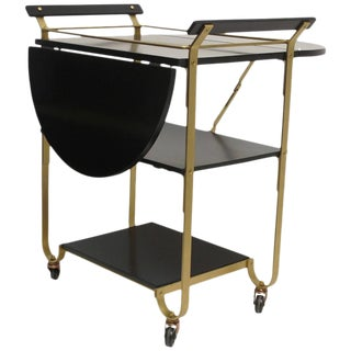 Mid 20th Century Brass Bar Cart For Sale