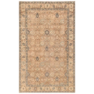 Decorative Antique Room Size Persian Tabriz Neutral Rug - 6′4″ × 10′ For Sale