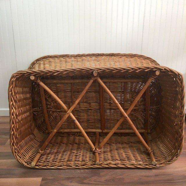 1970s Wicker Tub Settee Natural Rattan Love Seat For Sale In Boston - Image 6 of 9