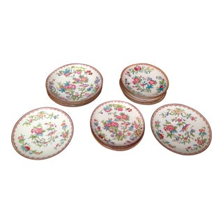 Antique English Floral Saucers - Set of 14 For Sale