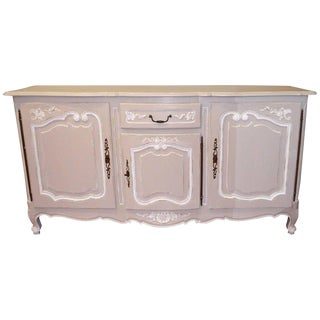 Louis XV Style Large Painted Grey and White Sideboard For Sale