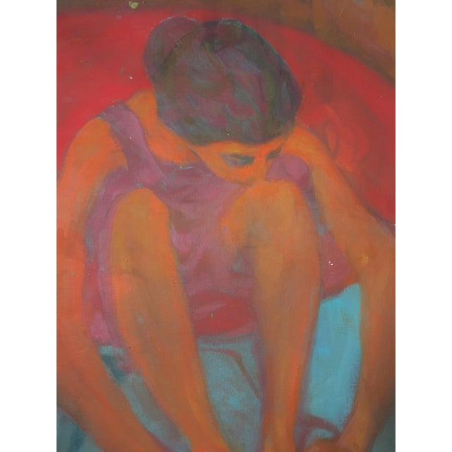 """Impressionism """"Young Girl in a Red Chair"""" Painting on Canvas For Sale - Image 3 of 6"""