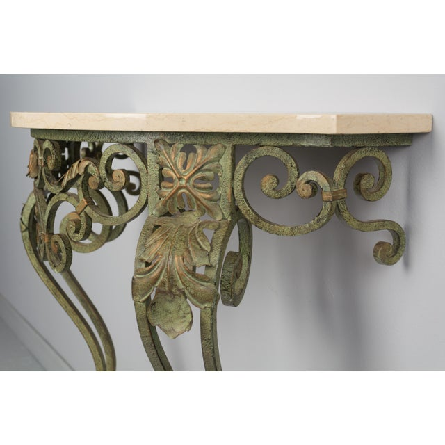 Turquoise French Louis XV Style Iron Console For Sale - Image 8 of 9