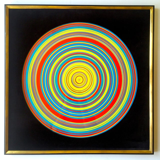 """ Tadasky "" Tadasuke Kuwayama Rare Vintage 1968 Mid Century Modern Framed Op Art Lithograph Print "" Whirling Circles "" For Sale - Image 13 of 13"