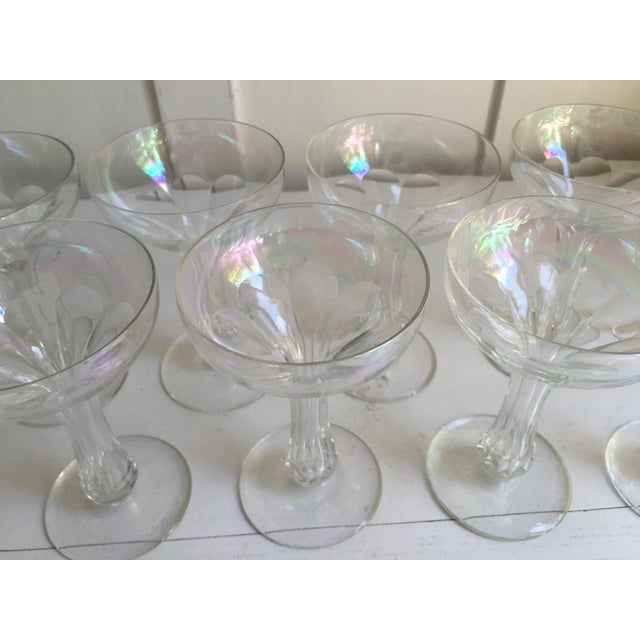 Vintage Iridescent Hollow Champagne Coupe Glasses - Set of 9 - Image 6 of 7