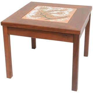 Mid-Century Modern Walnut Table With Enamel on Copper Inset by Brown Saltman For Sale