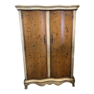 1980s Art Deco Armoire With Painted Doors For Sale