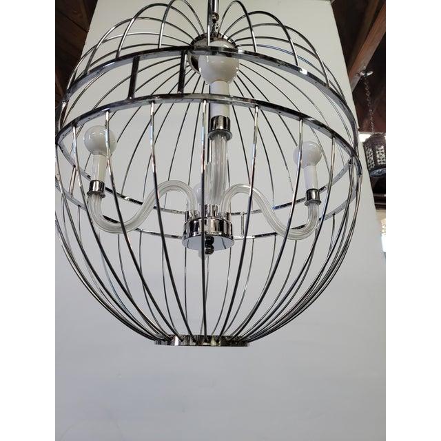 2000 - 2009 Paul Marra Design Polished Nickel Sphere Chandelier For Sale - Image 5 of 7