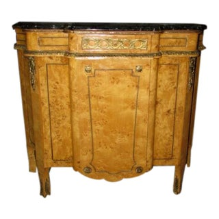 French Louis XVI Marble Top Birdseye Mable Ormolu Mounted Credenza Chest For Sale