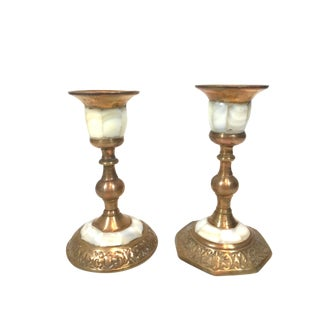 Vintage Mother of Pearl and Brass Candlesticks - a Pair For Sale