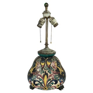 Antique Italian Hand Painted Terra-Cotta Lamp For Sale
