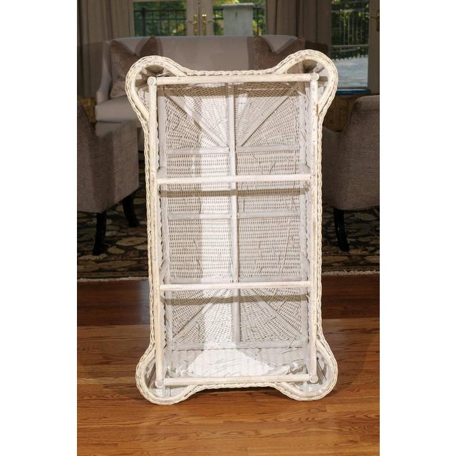 White Gorgeous Vintage Glazed Drape Wicker Coffee Table For Sale - Image 8 of 8