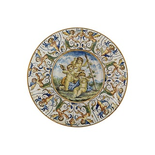 Antique Faience Cherub Wall Charger For Sale