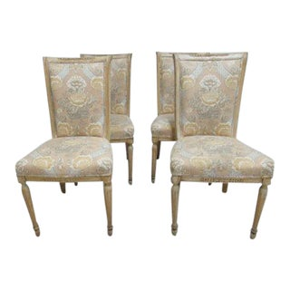 Distressed Italian Regency Carved Dining Side Chairs - Set of 4 For Sale