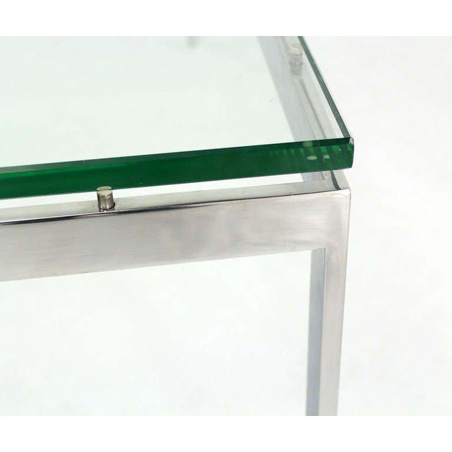 Modern Mid-Century Modern Style Large Square Stainless Base and Glass-Top Coffee Table For Sale - Image 3 of 9