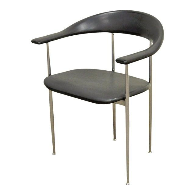 Vintage Mid Century Modern Fasem Chrome & Molded Vinyl Italian Desk Arm Chair For Sale