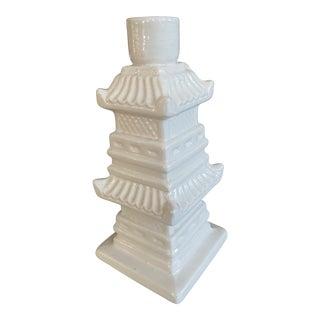 Blanc De Chine Italian Pagoda Candlestick Holder For Sale