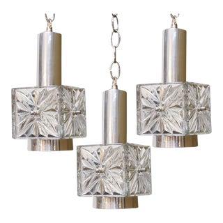 Set of Three Kinkeldey Glass Pendants For Sale