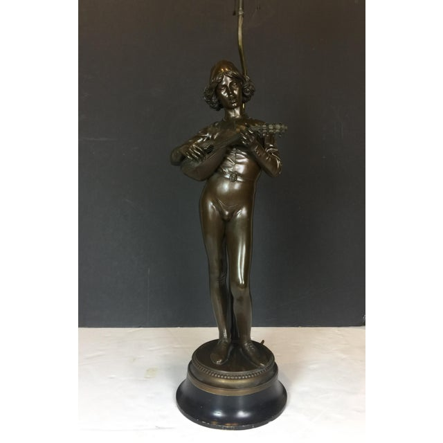 Art Deco French Barbadian Foundry Bronze Statue of Boy With Mandolin on Bronze and Wooden Base Floor Lamp For Sale - Image 3 of 13