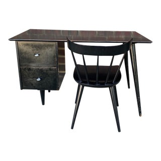 1950s Paul McCobb Desk With Chair - Set of 2 For Sale