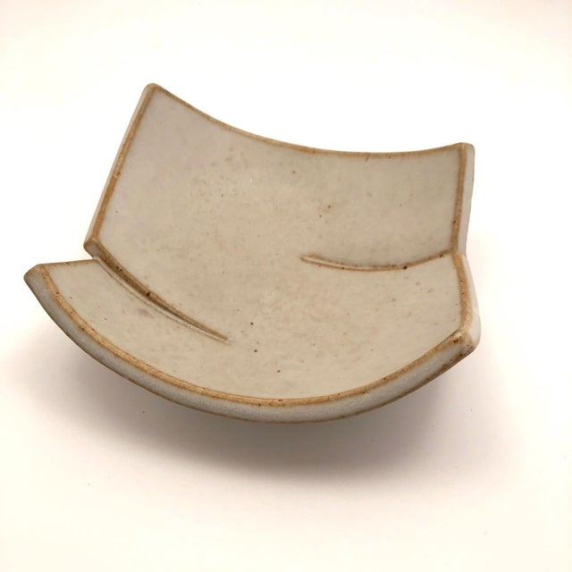 Contemporary Cream Glazed Hand-Formed Slab Pottery Bowl Signed Burke For Sale - Image 3 of 13