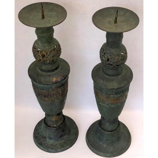 James Mont Style Greek Key/Horses Design Cast Bronze Verdigris Floor Candlesticks - a Pair For Sale - Image 9 of 12