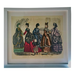 Antique 1870 Fashion Illustration Newly Framed For Sale