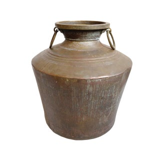 Large Antique Brass Water Vessel For Sale